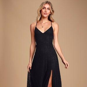 Lulu's -  Destinee Black Lace Sleeveless Maxi Dres